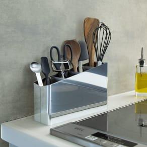 ステンレス製キッチンツールスタンド幅24cm