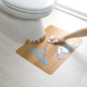 汚れが拭ける消臭トイレマット ショート木目調