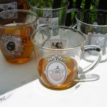 ムーミン モノトーン 耐熱ガラス ティーカップ