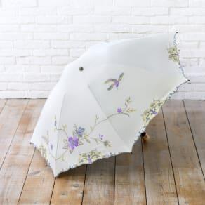 二重張りミニ折りたたみ日傘 花鳥刺繍