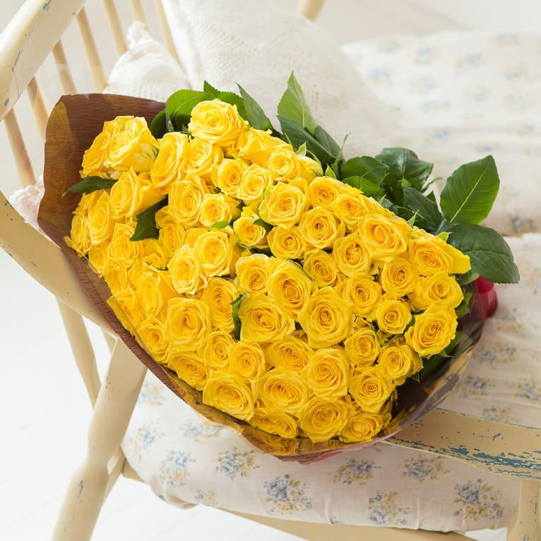 産地直送バラ花束(60本)イエロー系