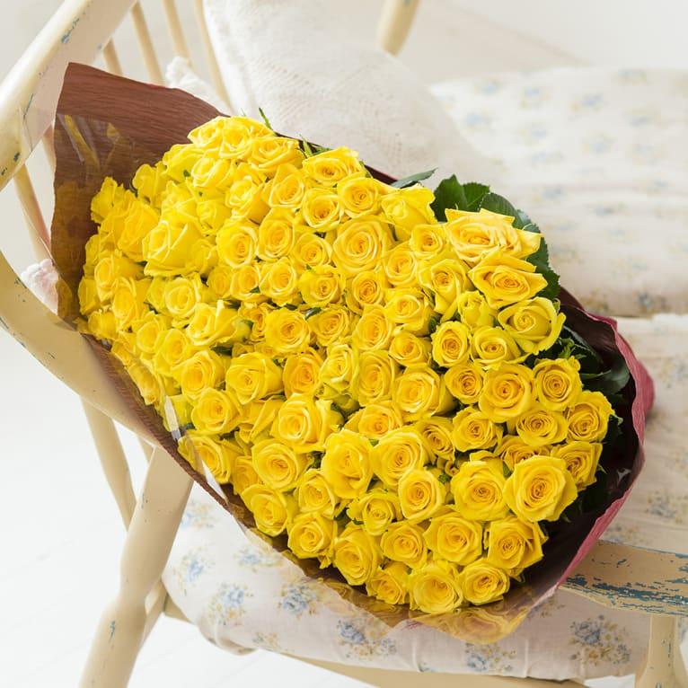 産地直送バラ花束(100本)イエロー系