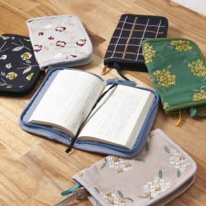 くろちく 刺繍ブックカバー 柄が選べる2個組