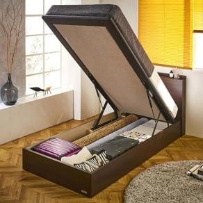 FranceBed/フランスベッド 棚照明マットレス付き跳ね上げ収納ベッド シングル