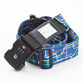 TSAロック&ネームカード付きスーツケースベルト メトロプリント≪アメリカ旅行の必需品≫