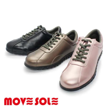 (ブラック)MOVESOLE(ムーブソール) レディースウォーキングシューズ(22-25.5cm) スニーカー