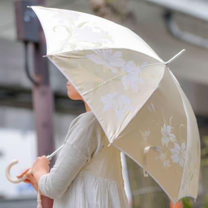 創業1866年槙田商店/ジャカード織 晴雨兼用長傘(UVカット加工) 絵おり 百合/ベージュ