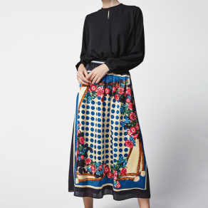 スカーフ柄プリントスカート(サイズS)
