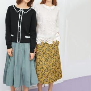 フランス素材 花柄ジャカード Aラインスカート