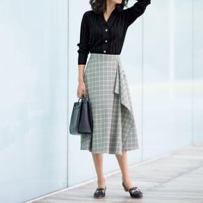 グレンチェック ラッフルデザイン スカート