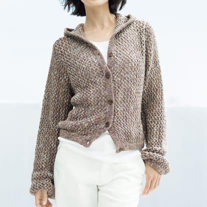 イタリア糸 リリヤーン メッシュ編み フーデッド カーディ…