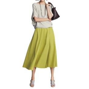 イタリア素材 リネン混 ストレッチ フレアースカート
