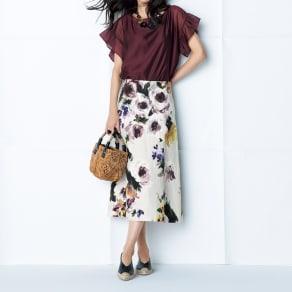 イタリア素材 リネン フラワー フレアースカート