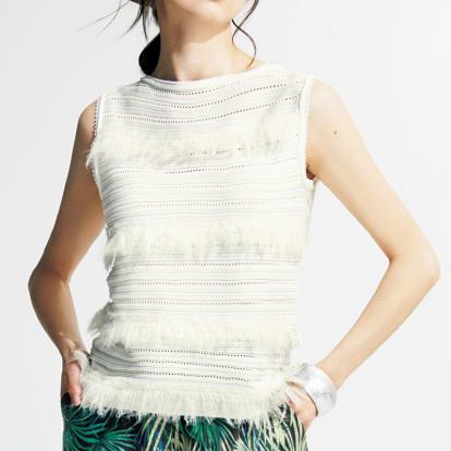 フリンジ使い 柄編み プルオーバー
