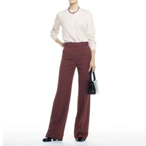 (股下丈72cm)飾りバックルベルトデザイン セミワイドパンツ
