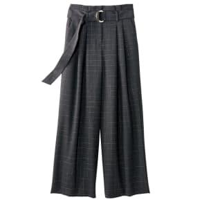 (股下丈65cm) イタリア素材 リボンベルト付き ラメ格子柄 パンツ