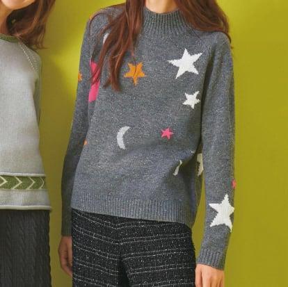 月と星モチーフ ニットプルオーバー