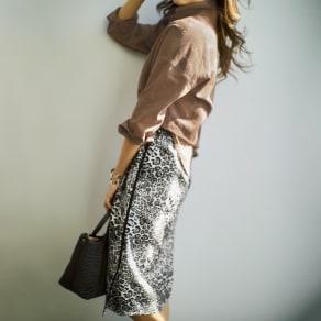ストレッチレオパード柄 ジャカードスカート