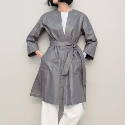 リベコ社 艶コーティング加工 ベルト付き リネン コート