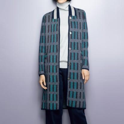 カシミヤ ダブルジャカード コート