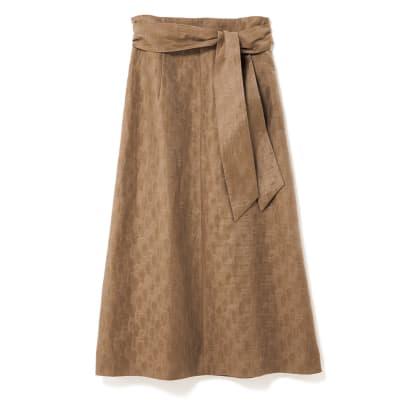 ジャカード素材 リボン付き ロングスカート
