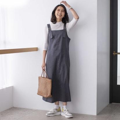 綿麻 シャンブレー ツイル ジャンパースカート