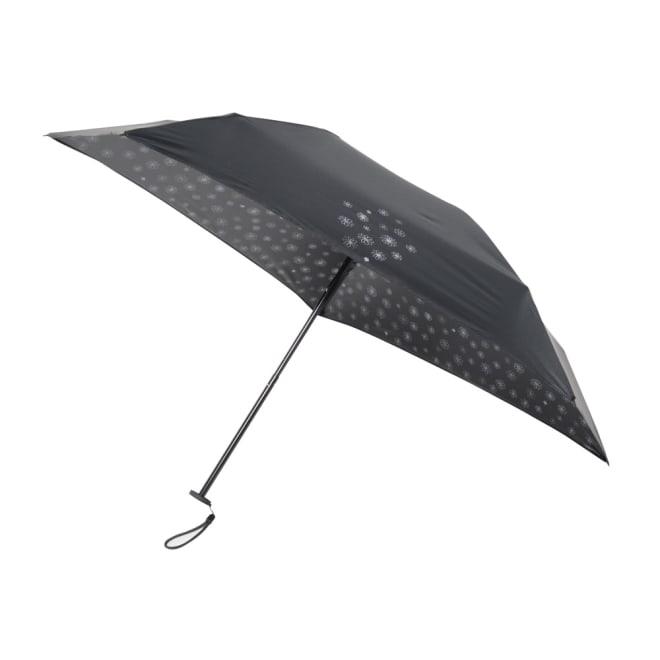 mabu 軽くてコンパクト 晴雨兼用遮熱折り畳み傘(ブラック フラワー柄) 表のワンポイントと裏全体に華やかなフラワー柄。