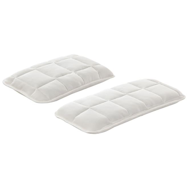 ふかふかなのに寝返りしやすい! 高弾性敷布団 専用枕 (左)普通判 (右)ワイド 専用枕 高弾性敷布団と相性ぴったりの専用枕。肌触りもよく、頭と首をしっかり支えます。
