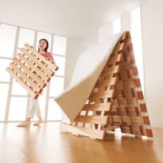 気になる湿気対策に薄型・軽量桐天然木すのこベッド 2つ折りタイプ ファミリー