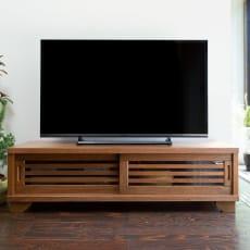 桐天然木格子テレビボード ロータイプ 幅120cm