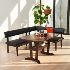 コンパクトLD兼用ラウンジダイニング3点セット 右カウチ(棚付きテーブル+背付きチェア+カウチ(座って右肘))
