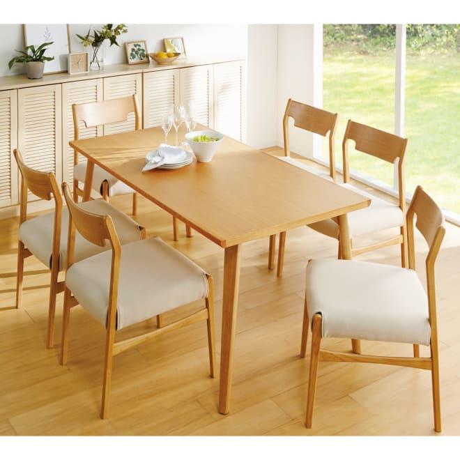 スローライフ天然木ダイニング テーブル オーク 幅150奥行80cm コーディネート例 ※お届けはテーブル・幅150奥行80cmです。