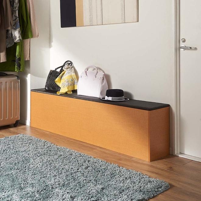 樹脂畳の収納付きベンチ 深型 幅180cm コーディネート例(ア)ナチュラル