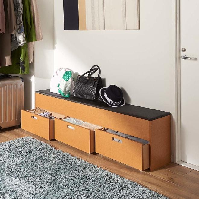 樹脂畳の収納付きベンチ 浅型+引き出し 幅180cm コーディネート例(ア)ナチュラル