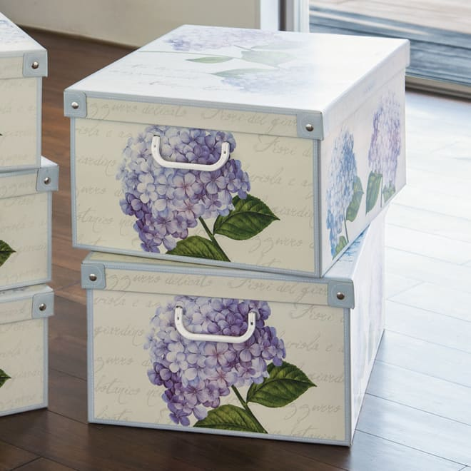 イタリア製収納ボックス 大サイズ+圧縮袋セット 収納ボックス(ア)アジサイ