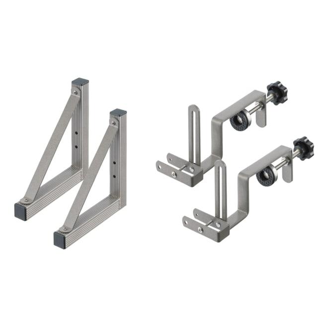アルミボーダーフェンス専用金具(フェンス1枚分) 手すり取付用アーム2本&スタンド2個組 セット内容 アーム2本とスタンド2個(フェンス1枚分)のお届けです。(イ)シルバー