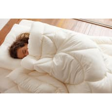 あったか洗える清潔寝具 お得な2枚合わせ掛布団+敷布団+枕 シングル3点セット