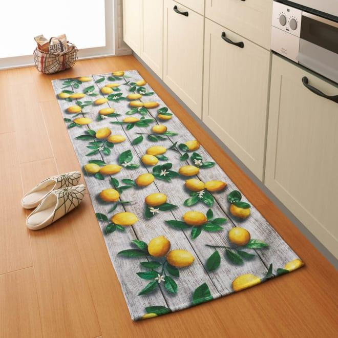 イタリア製デジタルプリントマット レモン 写真は約58×180cm