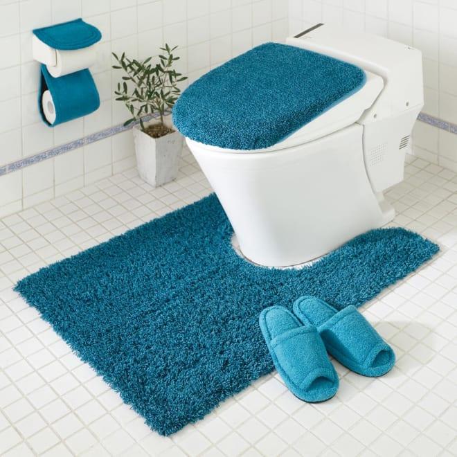 PLYS(プリス)乾度良好トイレタリー トイレマット 耳長マット:(ウ)ブルー系  ※お届けはマットのみです。