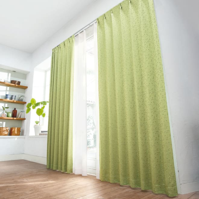 リーフ柄 形状記憶加工 多サイズ・多機能カーテン 幅150cm(2枚組) コーディネート例(ウ)グリーン ※レースカーテンは商品に含まれません。