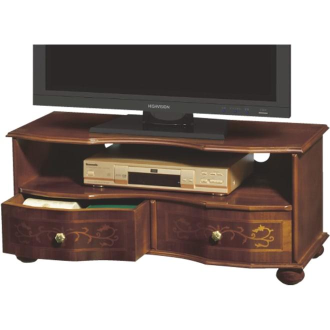 イタリア製象がん収納家具 テレビボード幅87cm コード穴が2箇所あいているので、配線も楽々。デザインと機能を兼ね備えた逸品。