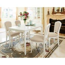 エレガントラインホワイト家具シリーズ ダイニング5点セット(テーブル幅130cm+ダイニングチェア4脚)