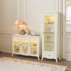 エレガントラインホワイト家具シリーズ 照明付きキャビネット