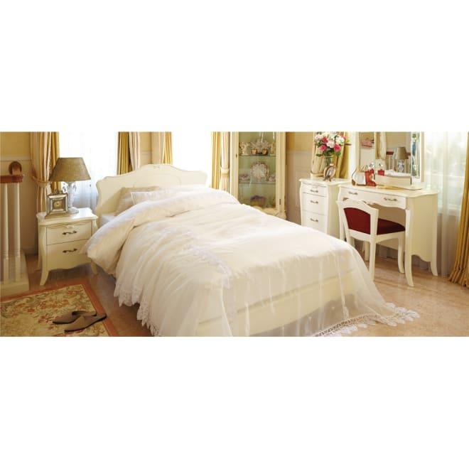 エレガントラインホワイト家具ベッド マットレス付 ※写真はセミダブルサイズです。