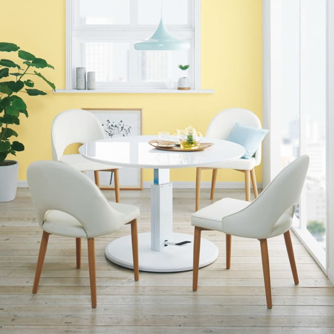 高さ自由自在!カフェスタイルダイニング 5点セット(丸形昇降テーブル径110cm+ラウンジチェア×4) ホワイト コーディネート例(ア)(座部)ホワイト・(脚部)ナチュラル