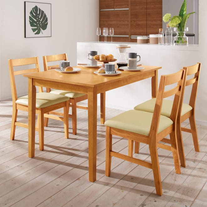 天然木モダンダイニング 5点セット(テーブル・幅120cm+チェア同色2脚組×2) シンプルで飽きのこないダイニングセットです。(ナチュラル)