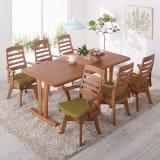 角が丸くて優しい天然木ダイニング テーブル 2本脚 幅180奥行90cm 写真