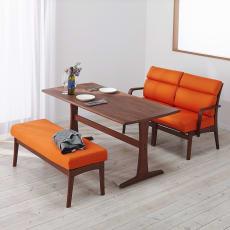 食後もくつろげるリラックスソファダイニング ウォルナット テーブル・幅145cm