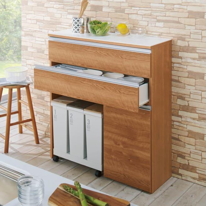 人工大理石天板 薄型オープンハイカウンター 幅100cm 足元のオープンスペースが便利な薄型収納庫。 (イ)ブラウン ※ダストボックスは商品に含まれません。