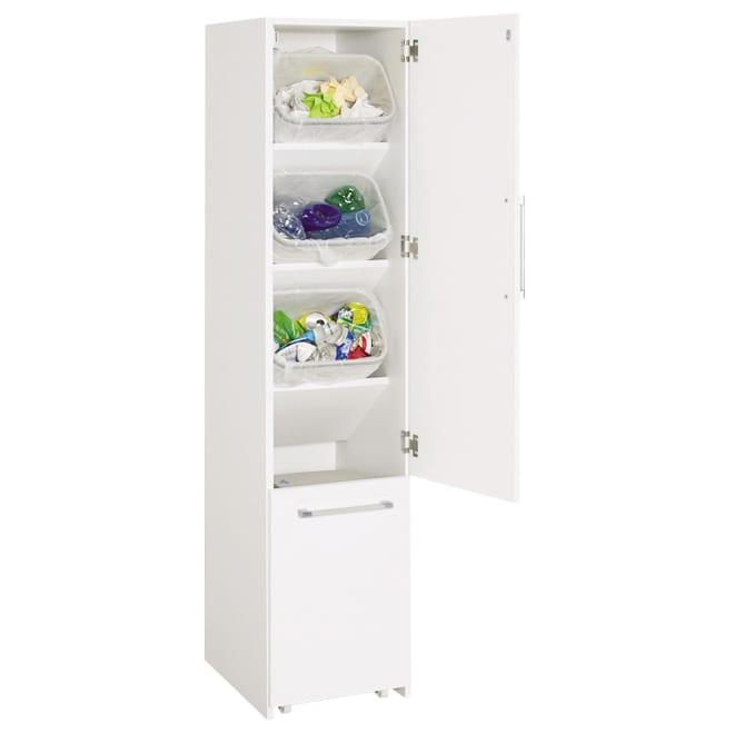 組立不要 キッチン分別タワーダストボックス 4分別 ゴミ箱タイプ (ア)ホワイト 人気のトールタイプダストボックス! せまいキッチンで有効にゴミ分別。